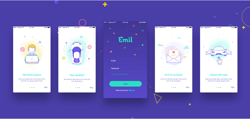Five screens from the Emil app